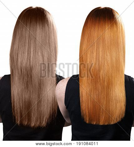 Comparative portrait of woman before and after dyeing and treatment hairs. Isolated on background.