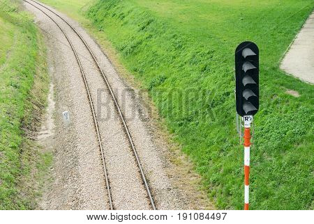 Railroad Track And Semaphore