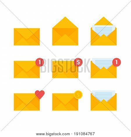 Mail envelope icons set. Email send message concept vector illustration