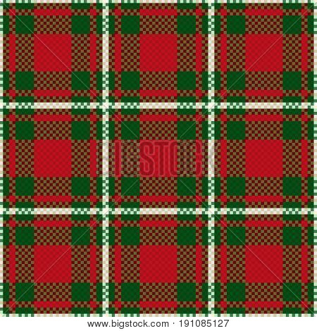 Seamless Checkered Pattern In Green And Red
