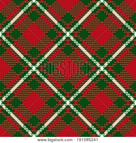 Diagonal Seamless Checkered Pattern In Green And Red