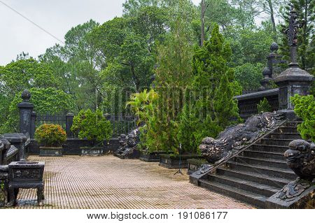 Stairs to the old temple and tomb in Hue Vietnam