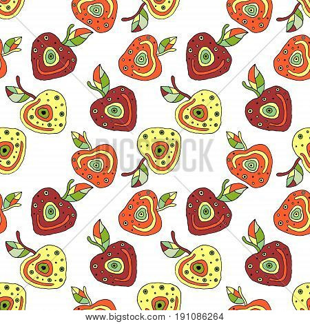 Seamless Vector Hand Drawn Childish Pattern With Fruits. Cute Childlike Cherry With Leaves, Seeds, D