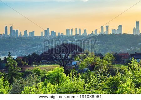 Skyscrapers of Maslak 4Levent and Sisli districts in Istanbul through the Otagtepe park Beykoz