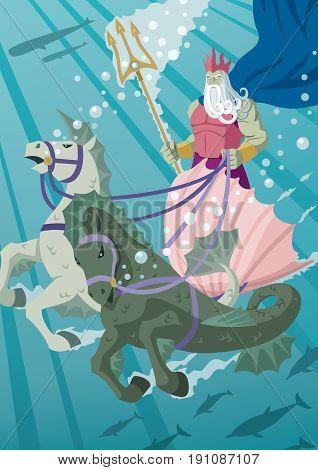 The sea god Poseidon driving his chariot through his estates.