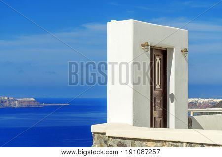 View on Oia in Santorini island Greece