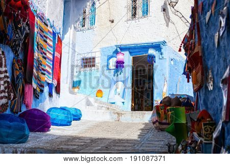 Shopping street in Chefchaouen, Morocco