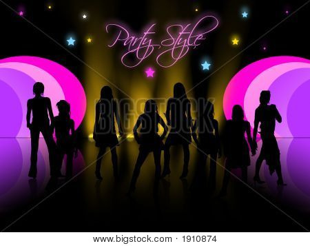 People Silhouettes In Night Club, Vector,Disco