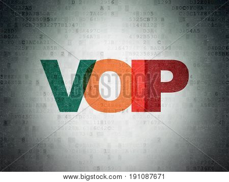 Web design concept: Painted multicolor text VOIP on Digital Data Paper background