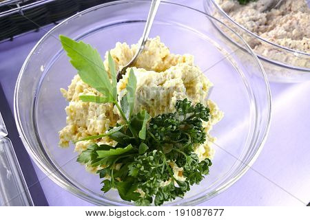 Glass Bowl Of Egg Spread As A Catering