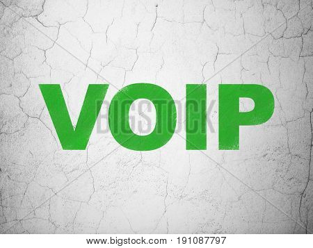 Web design concept: Green VOIP on textured concrete wall background