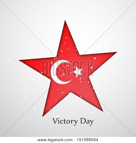 illustration of star in turkey flag background with Victory Day text on the occasion of Turkey independence day