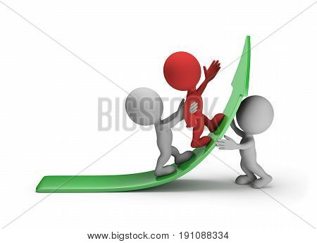 3D person is promoting the leader of the up arrow. 3d image. White background.