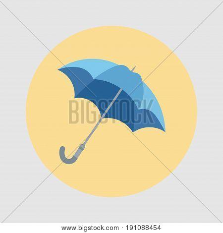 Umbrella closeup. Blue umbrella icon flat design vector icon