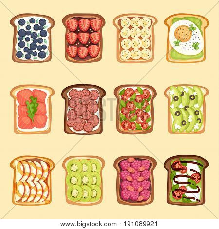 Breakfast toast sandwich, bread and butter set slices with butter, jam, avocado and fried egg. Flat cartoon style vector illustration. Crust sandwich fresh cooked bakery lunch nutrition snack.