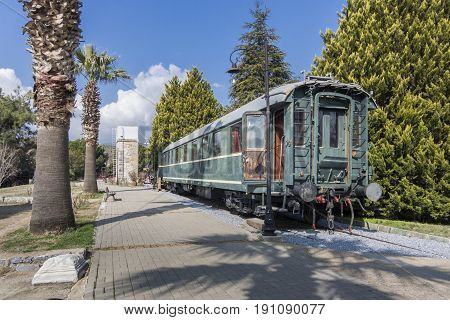 Old train wagon located in Museum Selcuk Turkey. This wagon was produced in Germany in 1926 for Ulu Onder Ataturk.