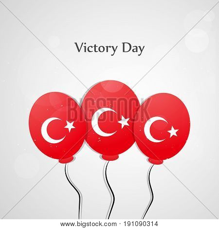 illustration of balloons in turkey flag background with Victory Day text on the occasion of Turkey independence day