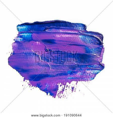 Blue purple acrylic brushstrokes banner. Blue daub paint background