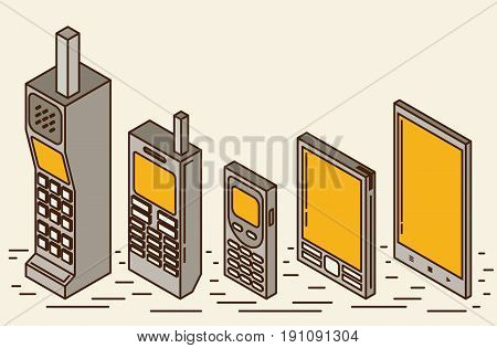 Cell phone evolution illustration flat icon set