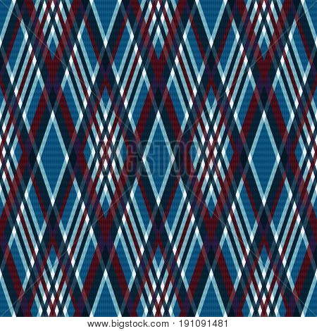 Rhombic Seamless Checkered Pattern In Blue And Red