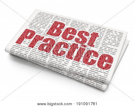 Education concept: Pixelated red text Best Practice on Newspaper background, 3D rendering