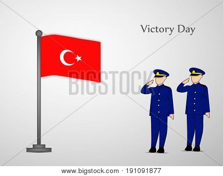 illustration of people saluting and turkey flag with Victory Day text on the occasion of Turkey independence day