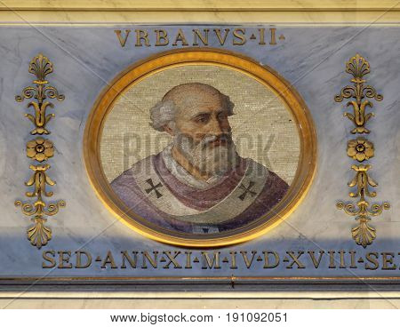 ROME - SEPTEMBER 05: Pope Urban II, born Odo of Chatillon or Otho de Lagery, was Pope from 12 March 1088 to his death in 1099, basilica of Saint Paul Outside the Walls, Rome on September 05, 2016.