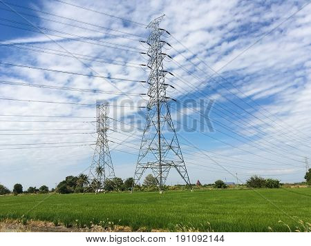 close up electricity pylons in country Thailand
