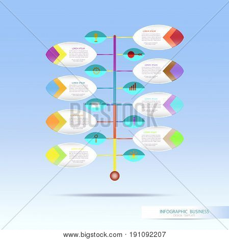 Vector infographic template with number 8 step integrated circles. Business concept with options. For content diagram flowchart steps parts timeline infographics workflow layout chartVector illustration