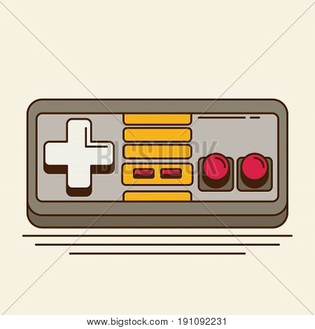 Vintage Game Joystick.  flat colorful icon for design