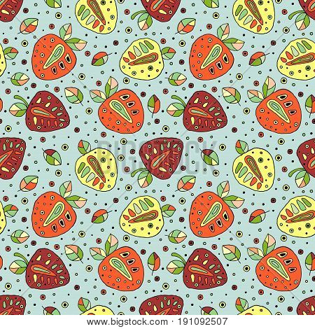 Seamless Vector Hand Drawn Childish Pattern With Fruits. Cute Childlike Strawberries With Leaves, Se