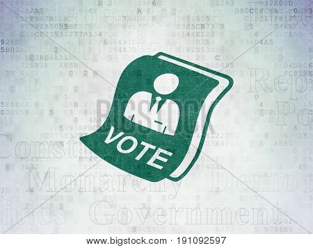 Political concept: Painted green Ballot icon on Digital Data Paper background with  Tag Cloud