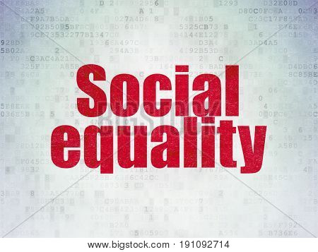 Political concept: Painted red word Social Equality on Digital Data Paper background