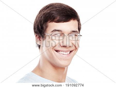 Close up portrait of young confident hispanic man wearing glasses and blue t-shirt smiling perfect healthy toothy smile isolated on white background - dentistry or ophthalmology concept