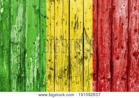 Flag of Mali painted on wooden frame
