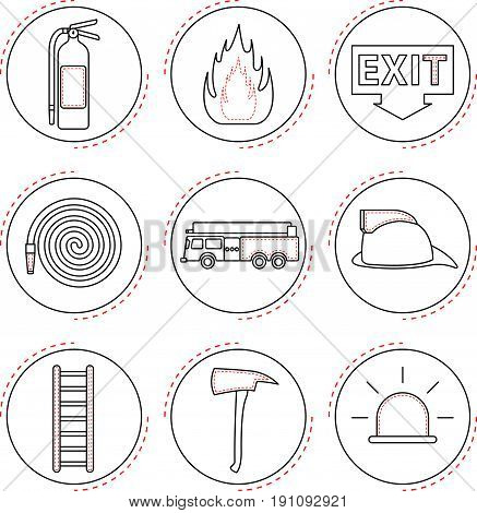 9 Easy-To-Use Fire Fighter Line Icons Designed as Black & White Theme