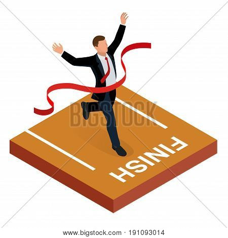 Isometric people. Entrepreneur businessman leader. Businessman and his business team crossing finish line and tearing red ribbon finishing first in a market race. Flat style vector illustration