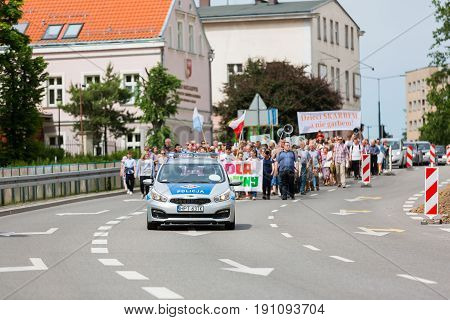 Elblag Poland - June 11 2017: People at the rally March For Life And Family on town street