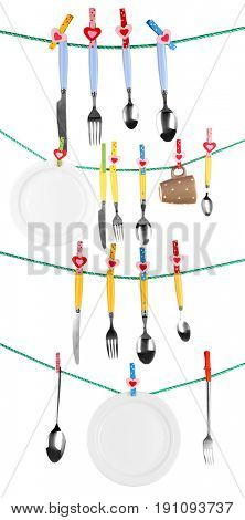 Different tableware hanging from clotheslines on white background