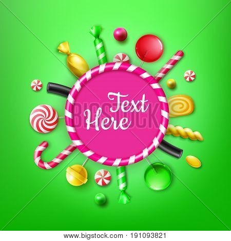 Vector candy flat lay with different sweets in yellow, red striped foil wrappers, swirl lollipops, xmas cane, frame for text or copyspace top view on green background