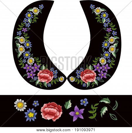 Vector design for collar blouses or dress. Flowers embroidery for textile design.