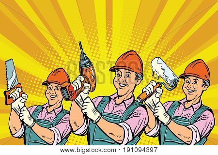 Construction worker with the repair tools. Comic book cartoon pop art retro colored drawing vintage illustration