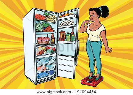 Young woman on scales, stand next to the refrigerator with food. Diet and weight-loss, fat people. A healthy lifestyle. African American people. Comic cartoon style pop art retro vector color drawing illustration
