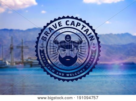 Brave captain logo on blurred seascape background. Vector emblem for cruise ship sea travel agency or other marine and nautical companies.