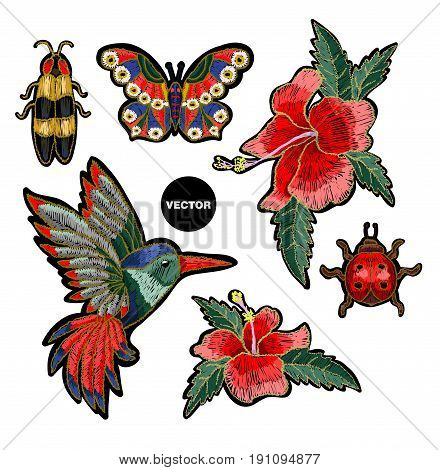 Embroidery hummingbird, hibiscus flowers, butterfly and ladybug. Vector illustration with colibri bird and flowers.