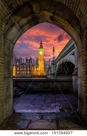 Big Ben after sunset, London, United Kingdom
