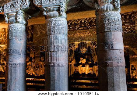 Ajanta caves in India. The Ajanta Caves in Maharashtra state are about 30 rock-cut Buddhist cave monuments, which date from the 2nd century BCE to about 480 or 650 CE.