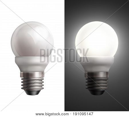 Vector illustration with turned off and glowing energy saving lamps on black and white background