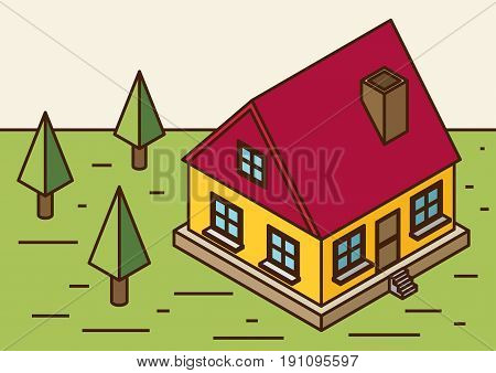 A vector illustration of a large new isometric home. Isometric home. New isometric home.