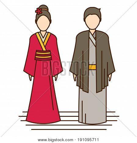 japan traditional costume kimono flat vector icon for design and web